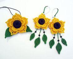RESERVED for ANNA Sunflower crocheted van GiadaCortellini op Etsy, €35,00: