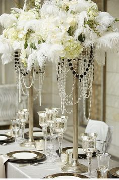 Com/Great-Gatsby-Themed-Party-Ideas art deco wedding flowers, fea Great Gatsby Party, Great Gatsby Motto, Speakeasy Wedding, Roaring 20s Wedding, Roaring 20s Theme, Gatsby Wedding Dress, Roaring Twenties, Art Deco Wedding Flowers, Wedding Art