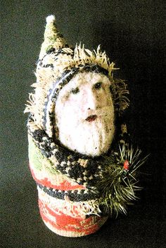 OOAK Primitive Folk Art Santa-BELSNICKEL-Original by FolkArtWorks