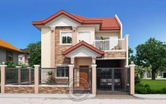 Andres, Two Storey House with Firewall - Pinoy House Designs 3 Storey House Design, 2 Storey House, Bungalow House Design, Modern Bungalow House, Modern House Plans, Philippines House Design, Two Storey House Plans, Double Story House, House Construction Plan