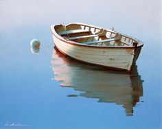 Zhen-Huan Lu   (Chinese-American, b. 1950)  Lonely Boat   Oil on canvas, 24 x 30 inches   Signed lower left