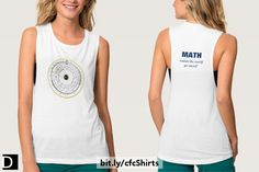"""This Bella+Canvas tank top for the math enthusiast features a high-resolution scan of a vintage antique circular slide rule showing various numeric scales. An interesting gift for the nerdy geek in your life. The customizable text on the back says """"MATH makes the world go round!"""". https://www.zazzle.com/vintage_antique_circular_slide_rule_t_shirt-235190558310508768?rf=238083504576446517&tc=20170601_pint_SSOZ #StudioDalio geek fashion apparel clothing clothes shirts"""