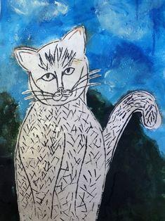 Kresba - rytí  do klovatiny, vytřené tiskařskou barvou. Vytvořili mladší školáci v našem výtvarném studiu. Studios