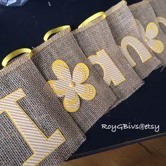 I am one Yellow Burlap banner #banner #firstbirthday #burlap