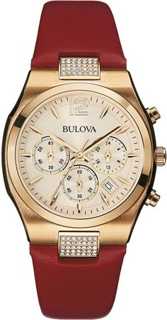 Bulova Womens Crystal-Accent Red Leather Strap Chronograph Watch