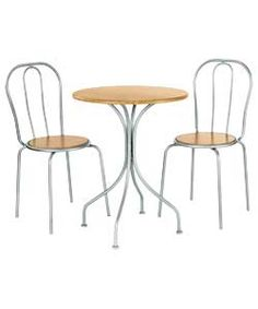 Argos 40£ set -     Chairs:Size of each chair H87, W42, D44cm Size table H75cm. Diameter 60cm.  Oak effect table. - fits in the kitchen instead of dryer  Chairs:      2 chairs.     Size of each chair H87, W42, D44cm.