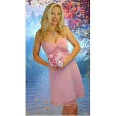 Custimezed wedding dress at reasonable price  Strapless Pink Bridesmaid Dresses with lace hem (Apparel)