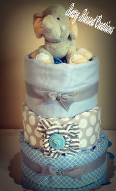 Baby Elephant Three Tier Diaper Cake, Baby Shower Gift, Diaper Cake