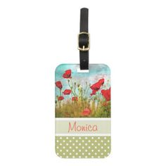 #monogram - #Cute Classic Poppy Flowers Meadow Field Watercolor Luggage Tag