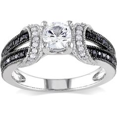 Miadora Sterling Silver Sapphire or Morganite and 1/4ct TDW Diamond... (545 PEN) ❤ liked on Polyvore featuring jewelry, rings, white, pave engagement rings, sapphire band ring, sterling silver sapphire ring, engagement rings and wide band rings