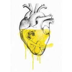 """21 Art Prints That Will Make You Feel Things """"Drowning"""" by Ina Stanimirova Arte Com Grey's Anatomy, Anatomy Art, Heart Anatomy, Art And Illustration, Art Prints Quotes, Wall Art Quotes, Art Vintage, Heart Painting, Bible Verse Wall Art"""