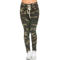 Knee Slit Stretchy Drawstring Jogger Pants in Woodland Camo ($25) ❤ liked on Polyvore featuring activewear and activewear pants