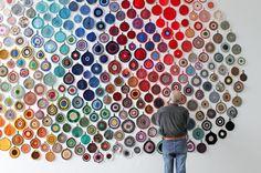 Wall of #crochet #potholders from Nordiska Akvarellmuseet, Äkta färgcirklar/Real Colour Circles, Påbörjad/Started 1997, ©Anu Tuominen #rainbow