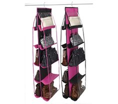 This cheap 10 Shelf Handbag Organizer - Black & Fuchsia is a college girls must have dorm accessory. This cheap dorm thing is a creative way to keep all your college stuff organized. This college dorm necesity can now be crossed off your dorm checklist.