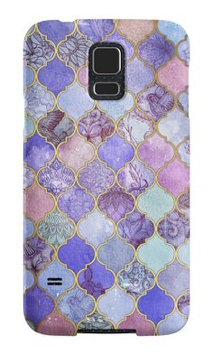 """Royal Purple, Mauve & Indigo Decorative Moroccan Tile Pattern"" Samsung Galaxy Cases & Skins by micklyn 