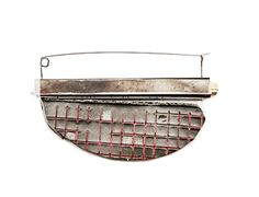 Demitra Thomloudis - Reconstructed displayed grid brooch - cement, wood, sterling silver, nyckel silver, resin, pigment 2013
