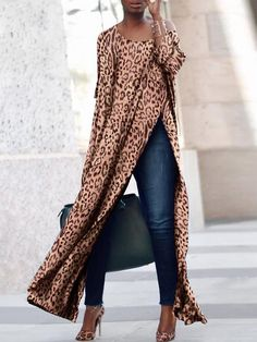 Three-quarter Sleeves on Both Sides Loose Casual Leopard Print Dress Fall Outfits, Cute Outfits, Casual Dresses, Fashion Dresses, Fast Fashion Brands, Looks Street Style, African Fashion, Dresses With Sleeves, Sleeve Dresses