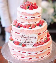 Modern Wedding Cakes For The Modern Bride Big Cakes, Cute Cakes, Pretty Cakes, Beautiful Cakes, Amazing Wedding Cakes, Amazing Cakes, Nake Cake, Strawberry Cream Cakes, Wedding Sweets