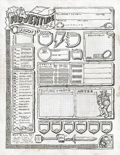 The Adventure Zone - Justin Gray, the creator of our logo (among other rad art) whipped up this custom-made character sheet! I love the Gerblin, watching stoically over the Notes field. Don't touch those Notes!