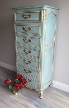 "Annie Sloan Chalk Paint blue painted lingerie chest with white trim. It took about 4 different paint shades to achieve this look. Size: 57"" tall x 23"" wide x 16"" deep. ~ $895 by TelovedHomeDesigns (Etsy) - lingerie sale, fashion lingerie, dirty lingerie *ad"