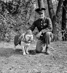 "Chesty Puller and the first Marine Corps Mascot ""Sgt. Jiggs"" 1926."
