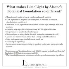 Limelight by Alcone Botanical Foundation is AMAZING!   http://www.limelightbyalcone.com/melanieb