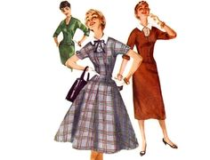 Vintage 50s Sewing Pattern - Long Line Fitted Drop Waist Dress, Square Neck, Slim or Full Skirt, Dickey - 1955 Simplicity 1260, Bust 32