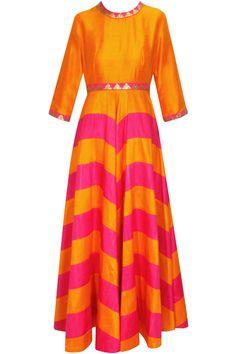 Orange and magenta zig zag line sequins work anarkali set available only at Pernia's Pop-Up Shop.