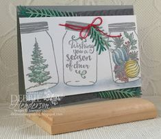 Stampin' Up! Jar Of Cheer from the Holiday Catalog. I also used the Cable Knit Dynamic Embossing Folder & Pretty Pines Thinlits Dies. Debbie Henderson, Debbie's Designs.