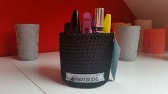 Häkelkörbchen fürs Bad L schwarz 9 cm von Made By EvE - Wohndeko selbst gehäkelt auf DaWanda.com
