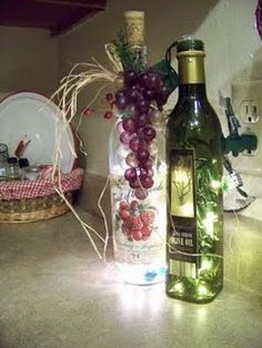 This is a great tutorial on how to make your own lighted wine bottles without having to drill a hole in the bottle!