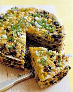 Tortilla and Black Bean Pie  Leave it to Martha Stewart to cook this in a springform pan - I'd just use a pie plate.