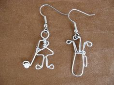 GOLFING LADY EARRINGS wire wrapped by chatnoir77 on Etsy, $14.00