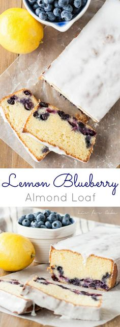 Delicious lemon blueberry loaf with a hint of almond. Best Dessert Recipes, Delicious Desserts, Cake Recipes, Lemon Desserts, Bread Recipes, Lemon Recipes, Sweet Recipes, Baking Recipes, Blueberry Loaf