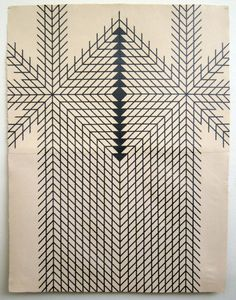 Alyssa Pheobys Mumtaz's large scale, labor-intensive drawings on textiles explore the medium as a method of meditation.  Geometric designs focus around a central point, beckoning both inward and outward, calling to mind both Modern and tribal art.