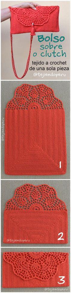 Clutch o bolso sobre tejido a crochet de una sola pieza.  Video tutorial del paso a paso: