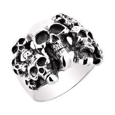 925 Sterling Silver Punk Rock Skulls Ring Gift For Men