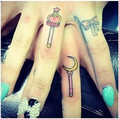 Sailor moon finger tattoos ❤ liked on Polyvore featuring accessories, body art and tattoos