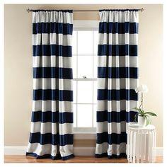 For Linnea's Room Stripe Curtain Panels - Room Darkening - Set of 2 - NAVY