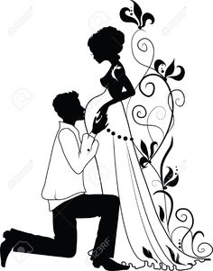 Silhouette Of Floral Pregnant Woman And Man With Floral Background Royalty Free Cliparts, Vectors, And Stock Illustration. Bride Silhouette, Silhouette Portrait, Harry Wedding, Woman Sketch, Baby Painting, Paper Quilling Designs, Cute Love Pictures, Banner Printing, Cartoon Styles