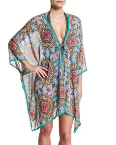 Renaissance+Printed+Kimono+Coverup+by+Red+Carter+at+Neiman+Marcus.