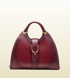 Gucci borsa con manici STIRRUP in pelle bordeaux