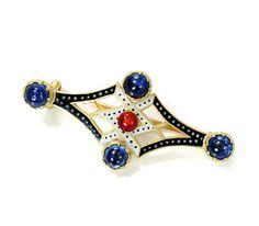 """This signed C & A Giuliano brooch of 18k yellow gold is clearly Renaissance influenced yet displays the open work attributed to """"neo-Renaissance"""" design.  A red guilloché enamel orb is centered within a field of contrasting black and white enamel with the trademark dots. At each of the cardinal points four (4) sapphires en cabochon are set in castellated bezels of yellow gold. The brooch displays a linear symmetry in both horizontal and vertical planes.    Date: Circa 1896 - 1912."""