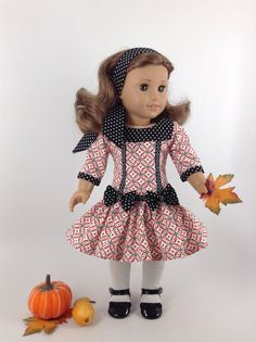 Fall Dress & Headband for 18-inch American Girl by HFDollBoutique