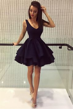 v neck homecoming dresses, little black dresses, short homecoming dresses