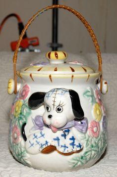 Dimensional Puppy Dog Bird House Cookie Jar Japan