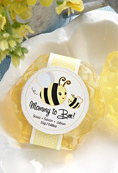 Mommy To Bee Honey-Scented Honeycomb Soap Favors. What a cute idea for a baby shower!