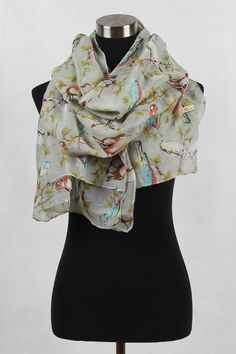(Selfless) Sparrow Print Scarf - Gray 100% Viscose