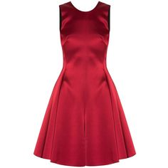 Emporio Armani Satin Bow Back Dress ($1,278) ❤ liked on Polyvore featuring dresses, red, emporio armani, red dress, red cocktail dress and emporio armani dresses