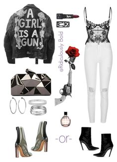 """A girl is a gun and she's not to be toyed with"" by thelyfestylist ❤ liked on Polyvore featuring adidas Originals, Balenciaga, River Island, WithChic, Jennifer Fisher, Aqua, Anne Sisteron, Jimmy Choo and The Lip Bar"